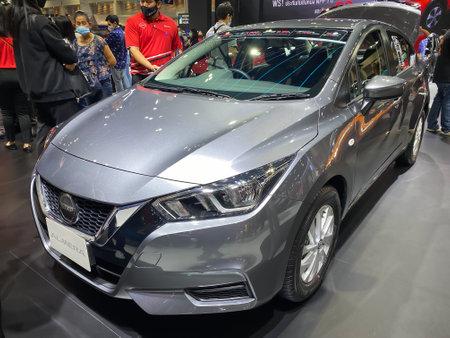 Bangkok Thailand 12 Dec 2020: Nissan Almera car show in the Motor Expo 2020 exhibitions in Bangkok, Thailand