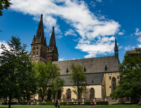 The church in the park of Vysehrad, Prague, Czech Republic July 2017 Editorial