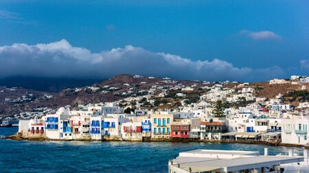 View of beautiful white buildings on the sea shore in little venice mykonos greece Stock Photo