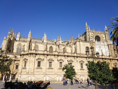 Seville Cathedral photo taken on clear day without clouds and blue sky - Photograph taken on October 31, 2017, Seville, Andalucia, Spain, Europe