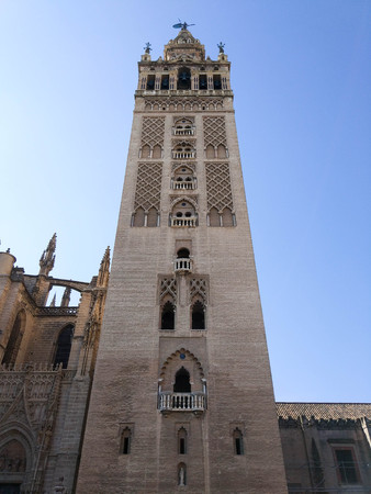 Spectacular view of the Giralda of Seville next to the Cathedral of Seville Andalucia, Spain, Europe