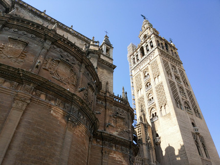 Horizontal view of the Giralda of the Cathedral of Seville