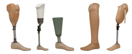 limb: Five prosthetic leg isolated on a white background