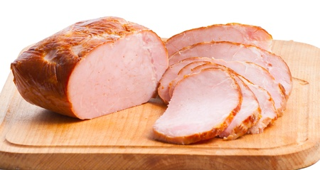 pork  loin: meat delicatessen on the board isolated on the white