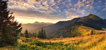 Colorful autumn landscape in the mountains. Sunrise Stock Photo - 10656651