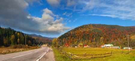 Colorful autumn landscape in the alp village photo