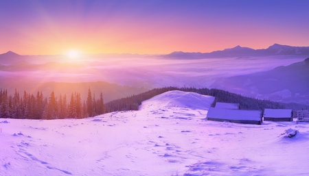 colorful winter sunrise in the alp mountains photo