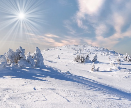 wintery day: Beautiful winter landscape in the alp mountains Stock Photo