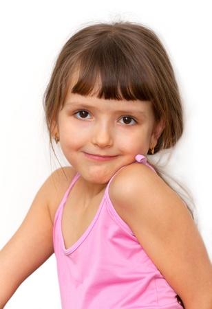 Amazing adorable little girl isolated on white background  photo