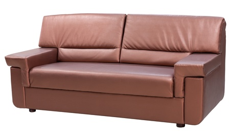 leather modern couch isolated on white