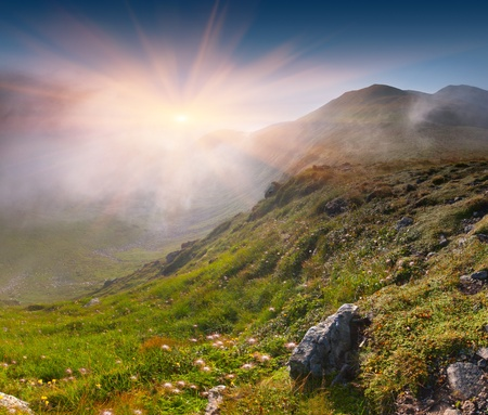 beam: Summer landscape in the mountains. Sunrise