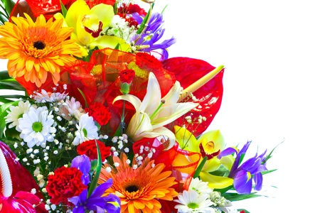 Bright Summer Flower Bouquet isolated on white Stock Photo - 13015610