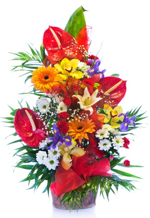 Bright flower bouquet isolated on white Stock Photo - 13015409