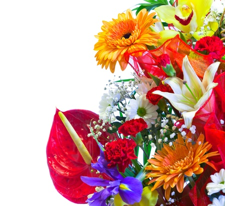 Bright flower bouquet isolated on white photo