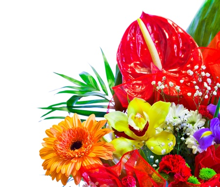 Bright flower bouquet isolated on white Stock Photo - 13017071