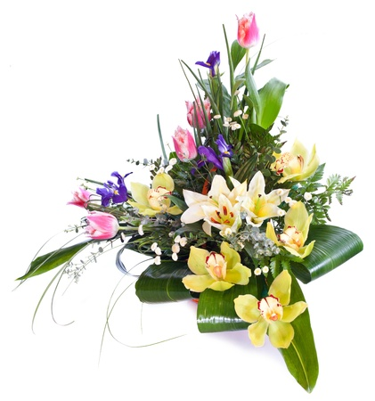 floral arrangement: Bright flower bouquet isolated over white background