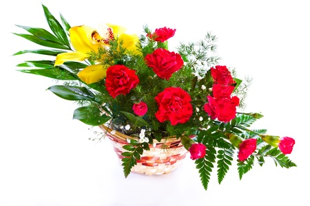 red carnation: Bright flower bouquet in basket isolated over white background Stock Photo