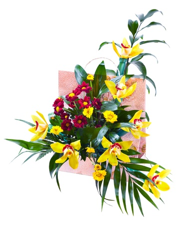Bright flower bouquet in basket isolated over white background Stock Photo - 13055954
