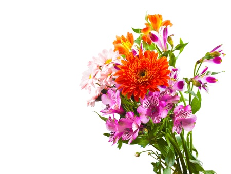 Bright flower bouquet isolated over white background