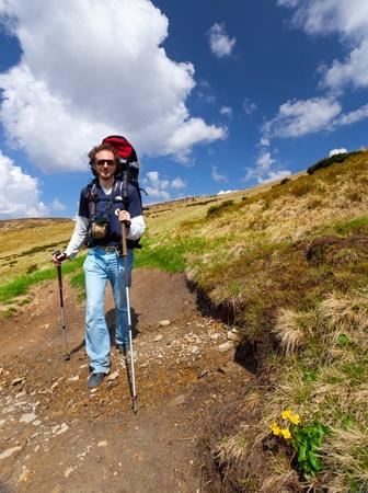 sportive man on the mountain trek Stock Photo - 13121437