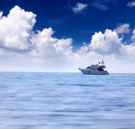 Summer seascape with luxury yacht photo
