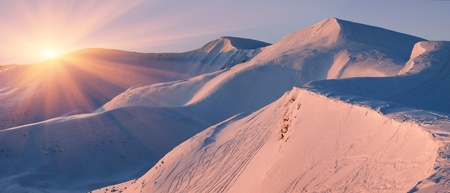 Winter landscape in the mountains. Sunrise