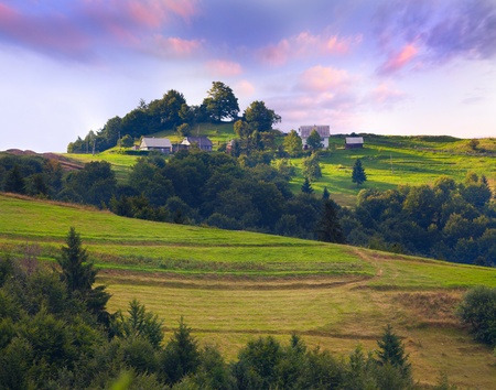 Colorful summer landscape in the vilage  Sunrise photo