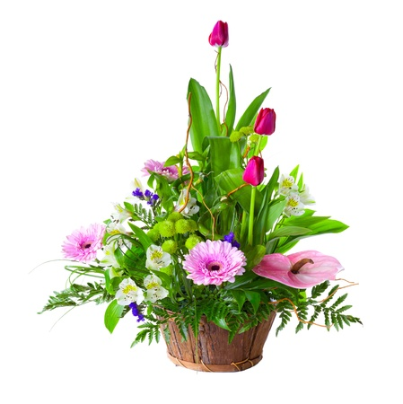Bright flower bouquet in basket isolated over white background Stock Photo - 13178242
