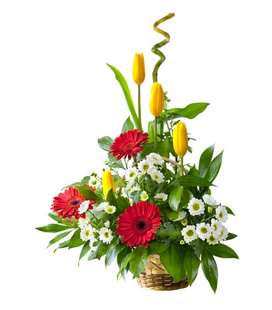 Bright flower bouquet in basket isolated over white background Stock Photo - 13230365