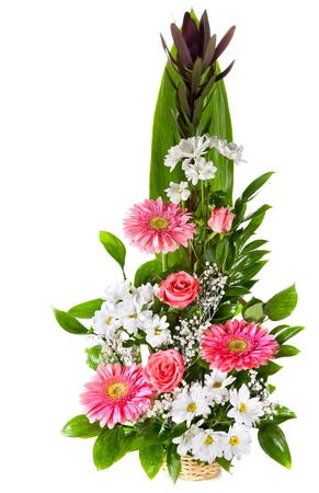 Bright flower bouquet in basket isolated over white background Stock Photo - 13230366
