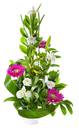 Bright flower bouquet in basket isolated over white background Stock Photo - 13230372