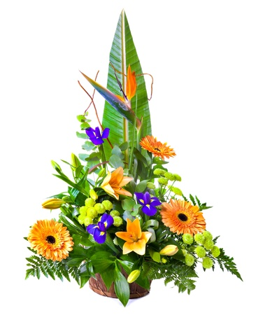 Bright flower bouquet in basket isolated over white background Stock Photo - 13230354