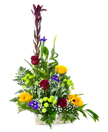 Bright flower bouquet in basket isolated over white background Stock Photo - 13230349