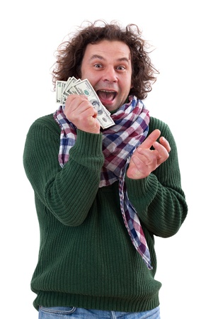 Happy man with dollars in his hand, isolated on white photo