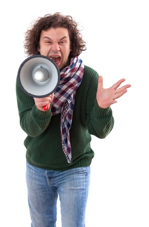 40 year old: 40 year old man with megaphone  Isolated on white Stock Photo