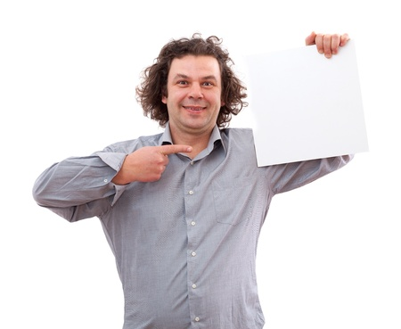 40 year old: 40 year old man holding a white board, isolated on white background