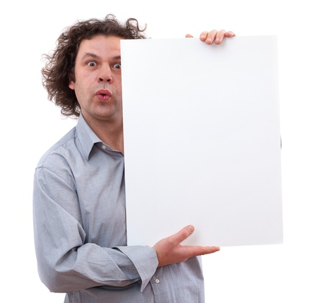40 year old man: 40 year old man holding a white board, isolated on white background
