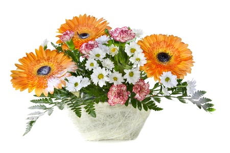 Bright flower bouquet in basket isolated over white background Stock Photo - 13268433