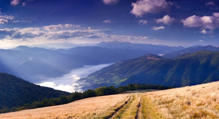 panorama of mountain scenery morning in September photo