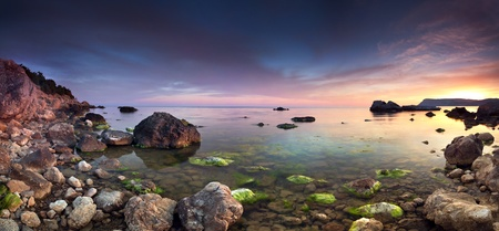 atlantic: Colorful panorama of the sanset on the sea Stock Photo