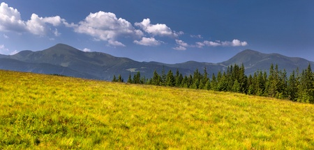 Panorama of two mountains peak at the summer Stock Photo - 13306149