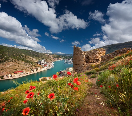 The ruins of the Genoese fortress in the Bay of Balaclava, Crimea photo