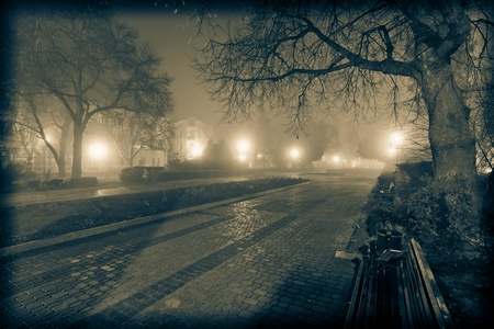 Vintage cityscape night urban park Stock Photo