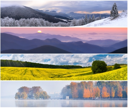 Set of the 4 seasons landscape for banners Stock Photo - 13700481 - Set Of The 4 Seasons Landscape For Banners Stock Photo, Picture And