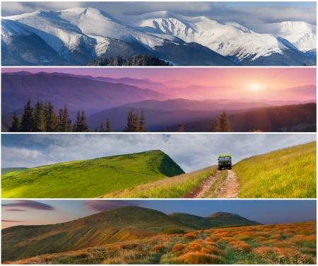 sentier: Lot de 4 saisons du paysage pour les banni�res