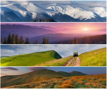 light trails: Set of the 4 seasons landscape for banners Stock Photo