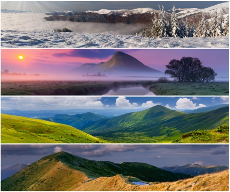 spring season: Set of the 4 seasons landscape for banners Stock Photo