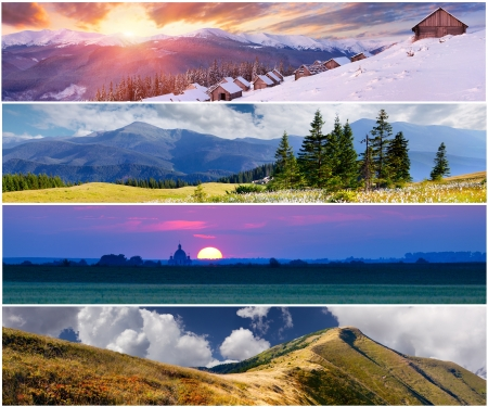 Set of the 4 seasons landscape for banners photo