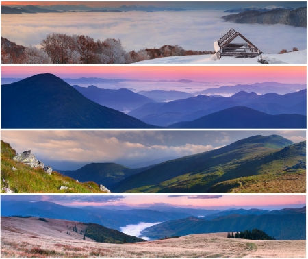 Set of the 4 seasons landscape for banners Stock Photo - 13700422