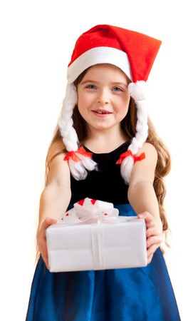 Cute little girl gives gifts. Isolated on white photo